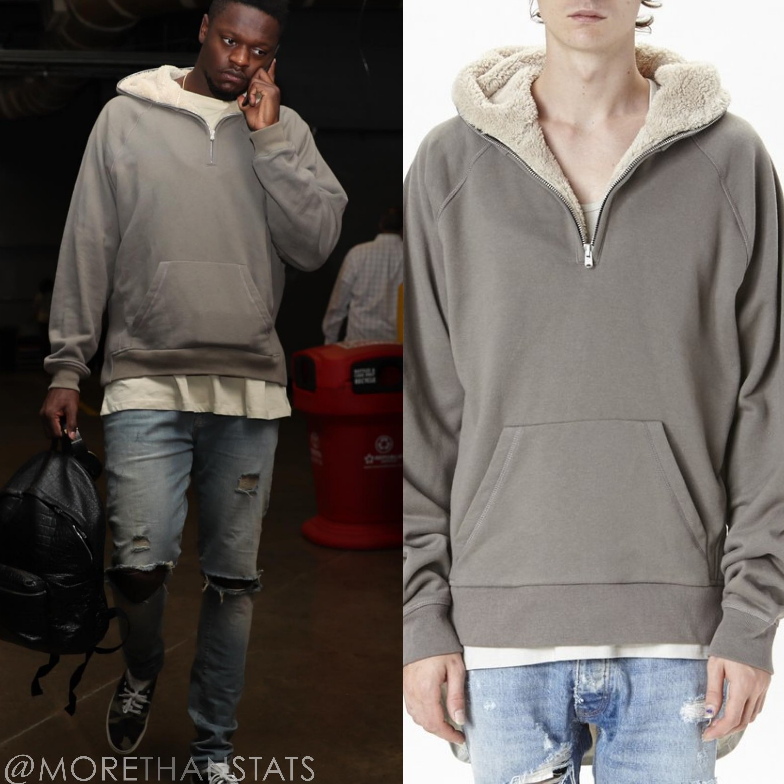 STYLE: NBA Julius Randle Wears Fear Of God Sherpa Hoodie
