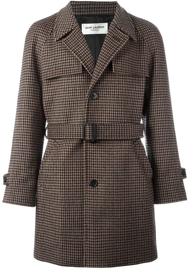 saint-laurent-houndstooth-belted-coat