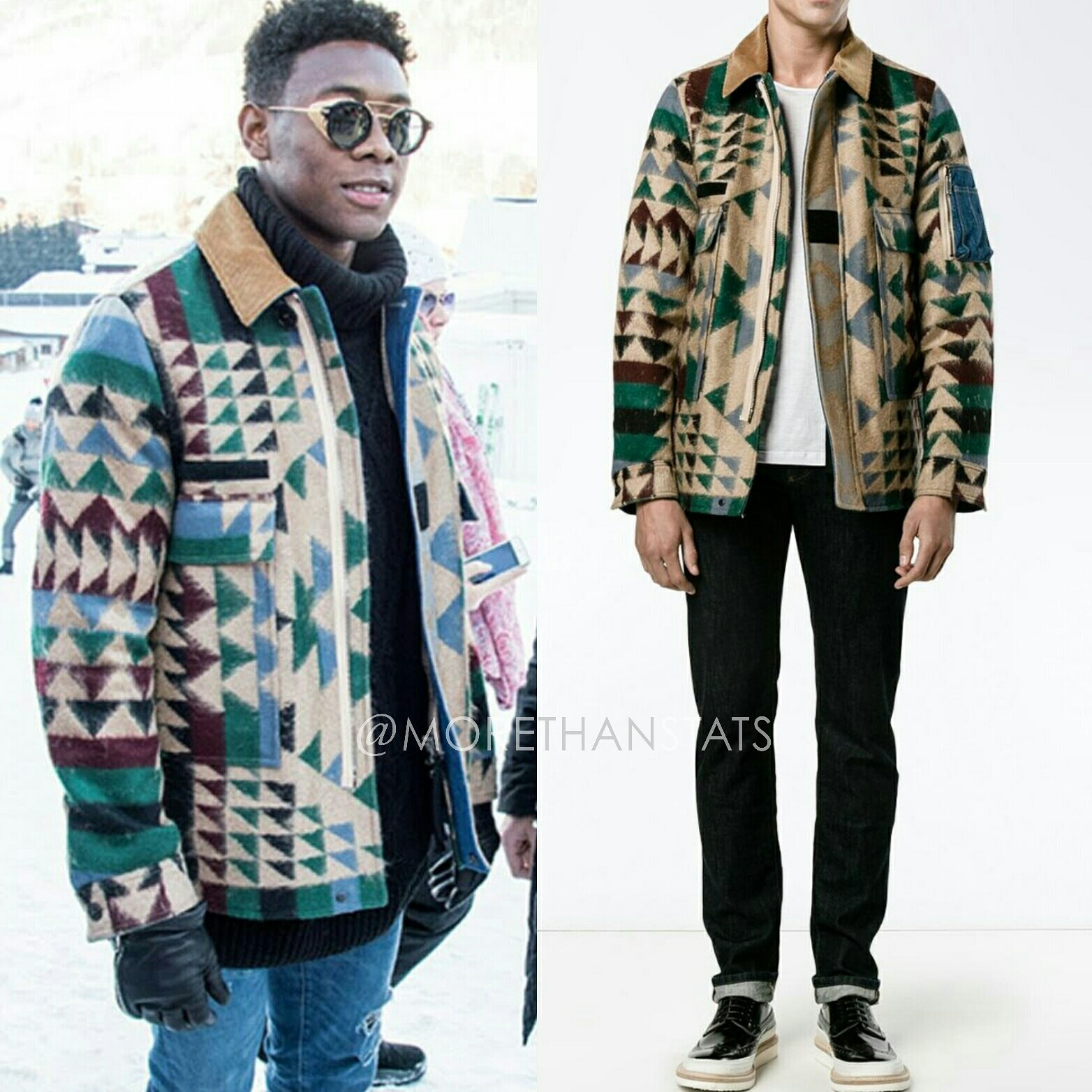David Alaba's Valentino Navajo Print Men's Fashion Jacket & Thom Browne Visor Sunglasses