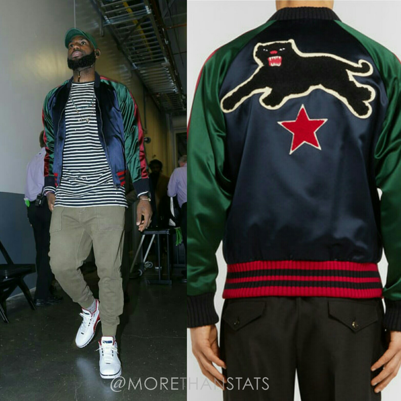 Lebron James' Nike Air Zoom Sneakers & Gucci Appliquéd Silk-Satin Mens Fashion Jacket