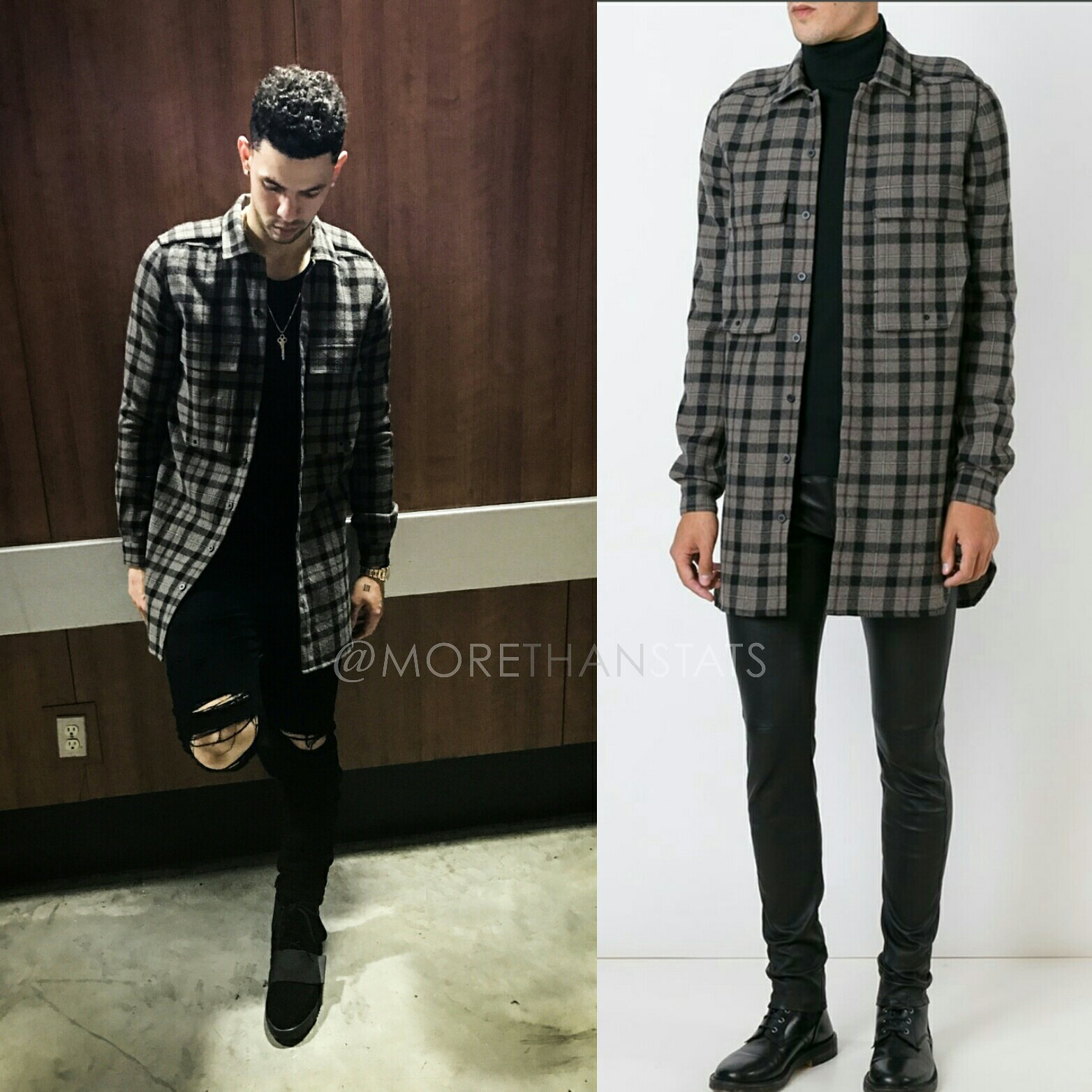 L.A. Clippers Austin Rivers Wears Rick Owens plaid Flannel, Amiri Jeans, & Yeezy Boost 750 Sneakers