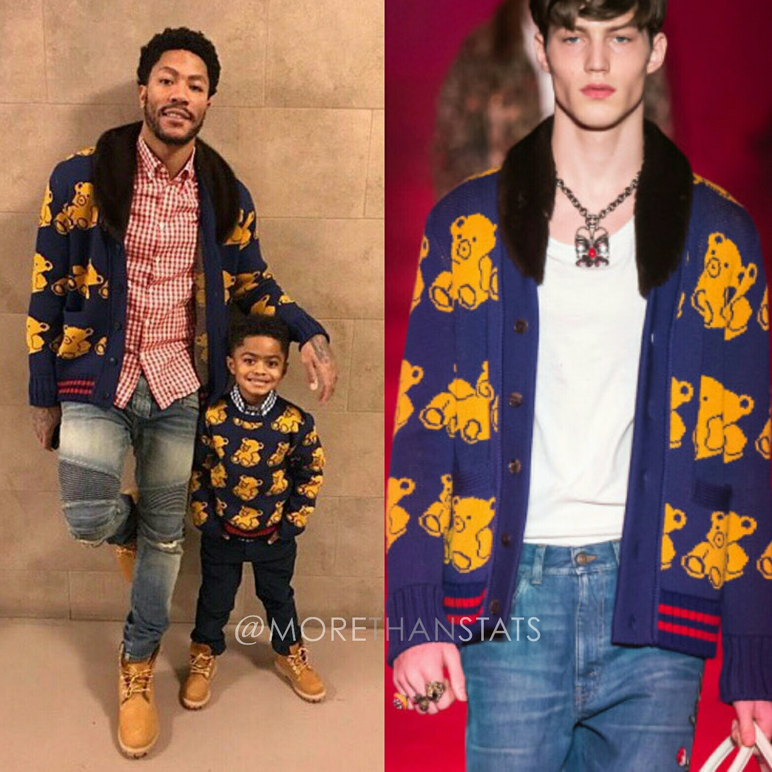 Trendy Mens Clothing: Derrick Rose & Son P.J. Wear Gucci Teddy Bear Print Sweaters