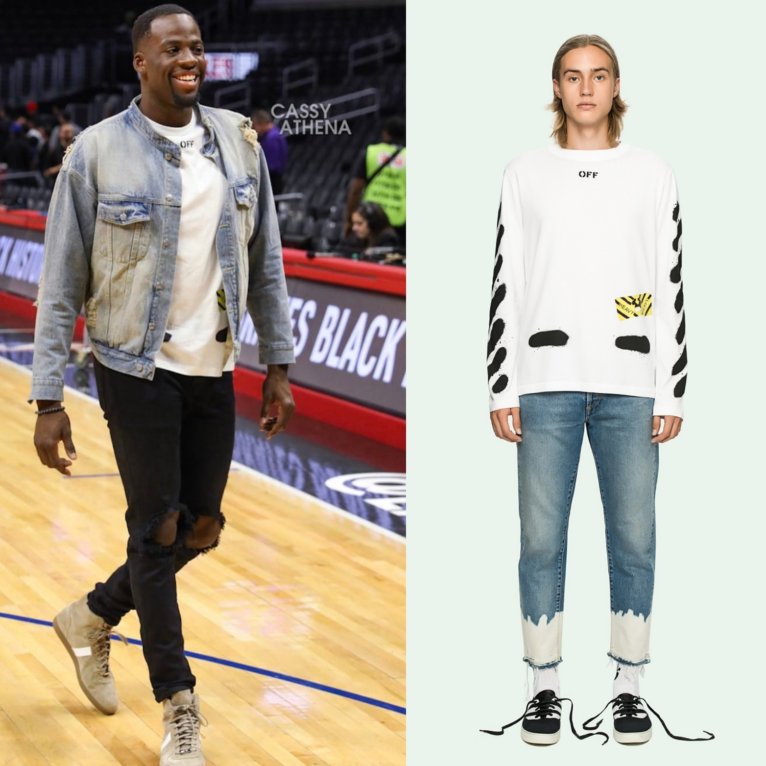 Draymond Green's Daniel Patrick Men's Fashion Jacket, Off-White Men's Fashion Shirt And Dior High-Top Sneakers