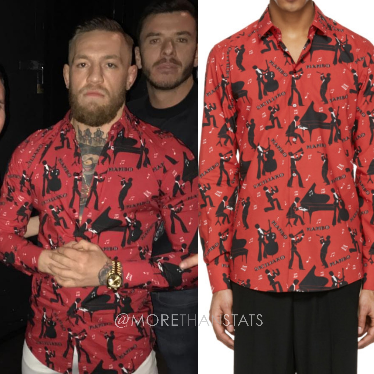 Conor McGregor's Dolce & Gabbana Red Mambo Men's Dress Shirt