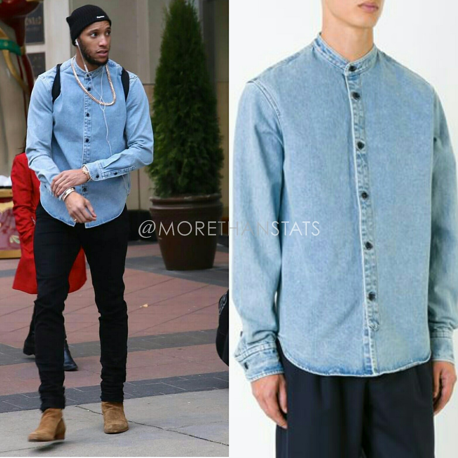 Evan Turner's Simon Miller's Mandarin Collar Shirt, Amiri Men's Fashion Jeans, Saint Laurent Hedi Jodhpur boots