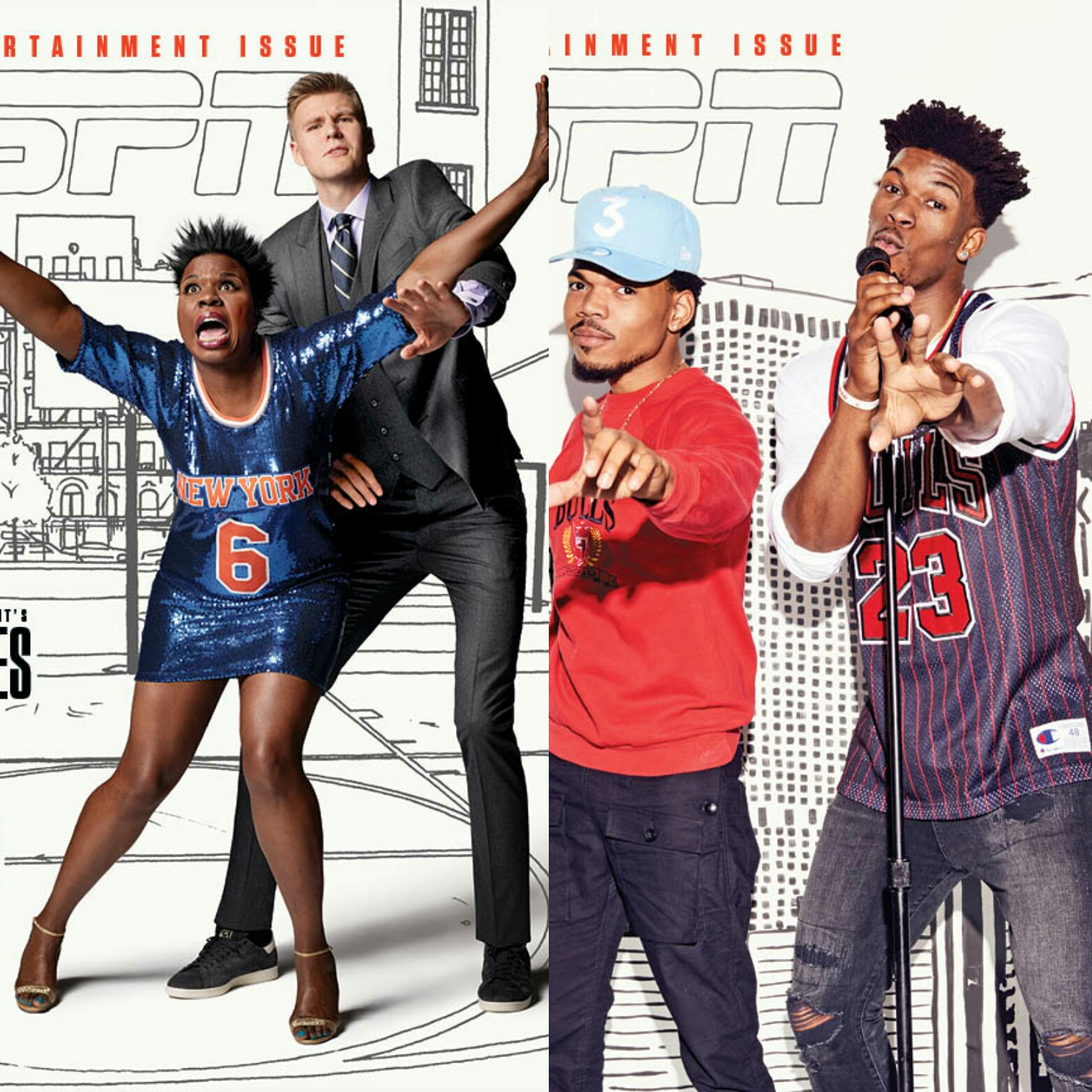 ESPN The Magazine's Entertainment Issue Features Kristaps Porzingis & Jimmy Butler Paired With Leslie Jones & Chance The Rapper