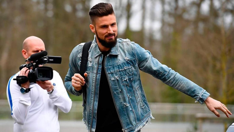 Olivier Giroud Wears Amiri Distressed Men's Denim Fashion Jacket