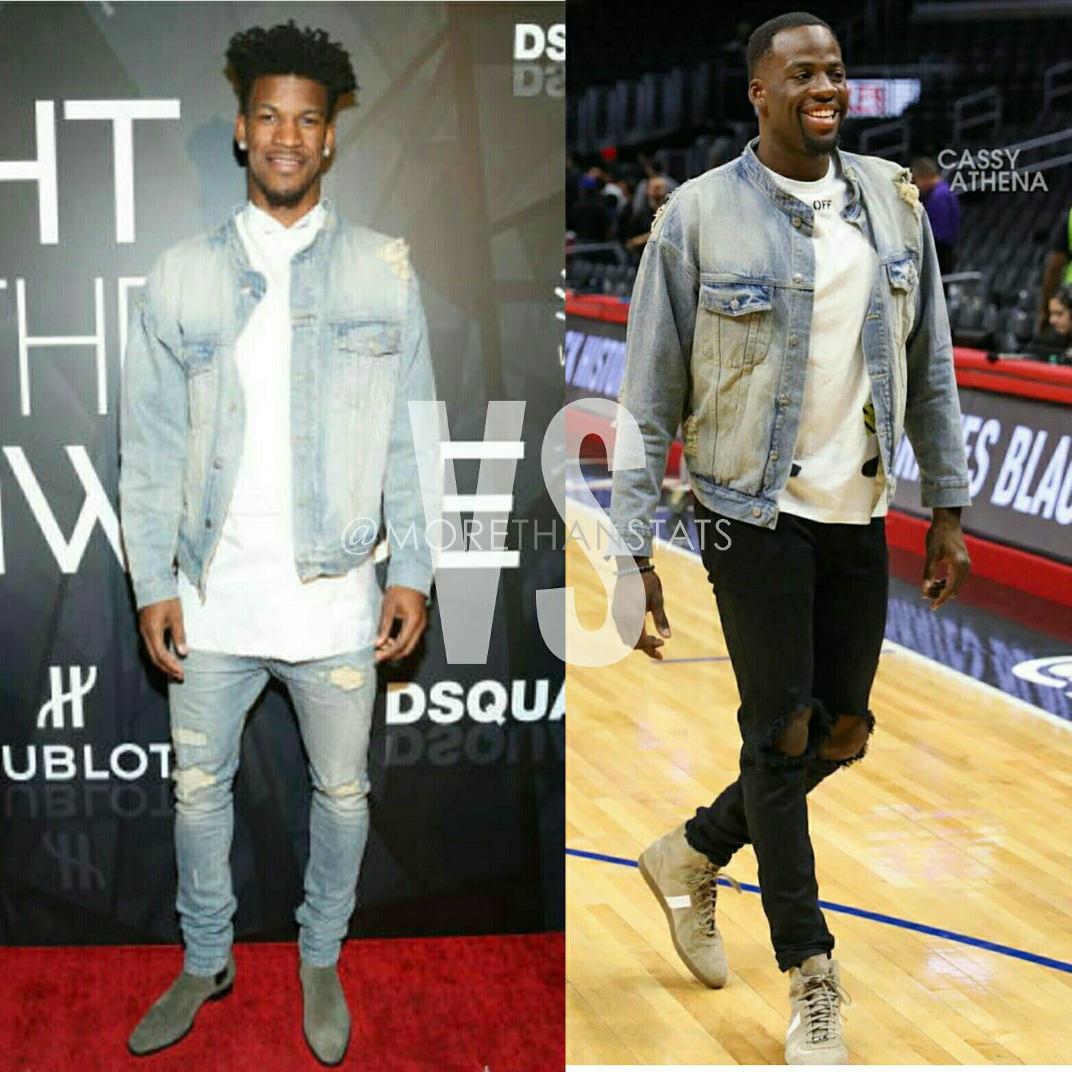 Jimmy Butler VS Draymond Green Wearing Daniel Patrick's Oversized Denim Fashion Jacket
