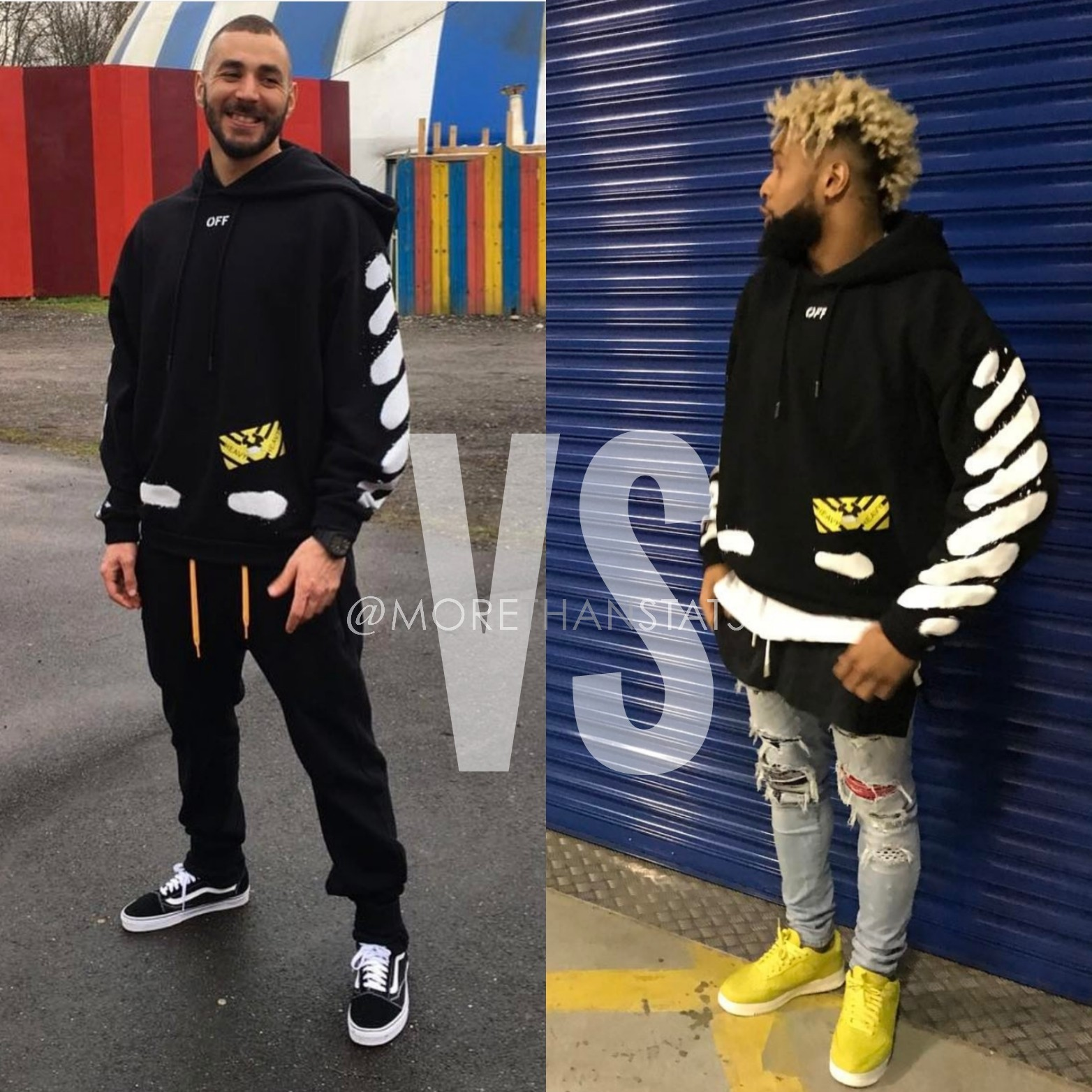 Karim Benzema VS. Odell Beckham Jr. Wearing Off-White C/O Virgil Abloh Black Diagonal Spray Hoodie