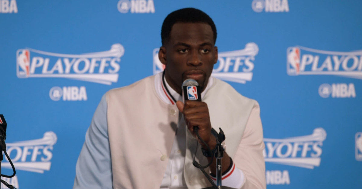 Draymond Green's 2017 NBA Playoffs Thom Browne Tri-Color Varsity Jacket