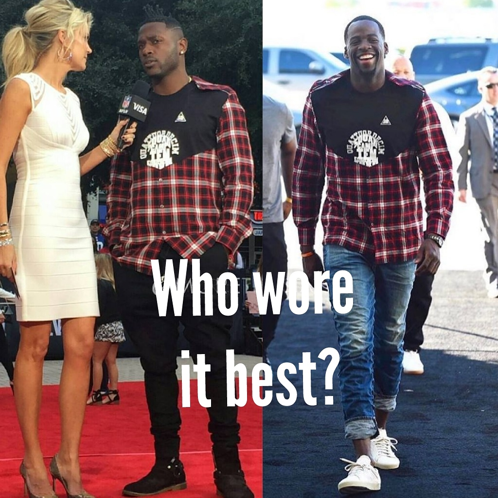 Antonio Brown & Draymond Green Wearing Margiela check plaid panel shirt
