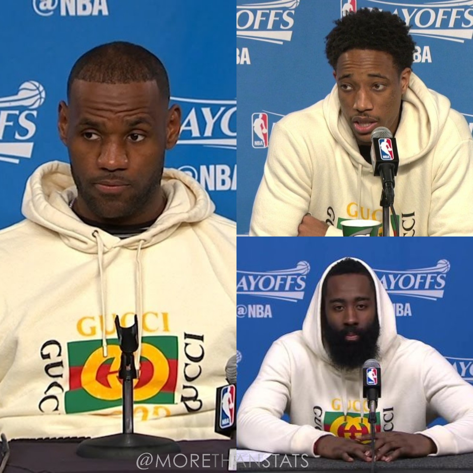 Lebron James, James Harden, Demar Derozan's NBA Playoffs Gucci logo Hoodie