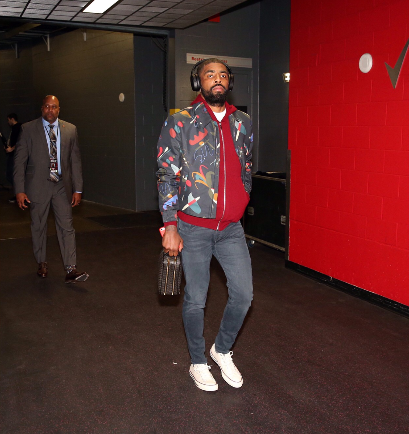 Kyrie Irving's NBA Playoffs Toronto Salvatore Ferragamo Abstract Print Jacket