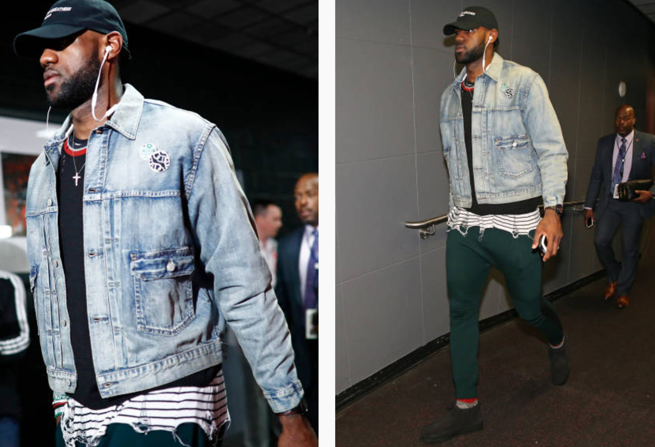 Lebron James' Toronto NBA Playoffs 2017 RRL Distressed Selvedge Denim Jacket