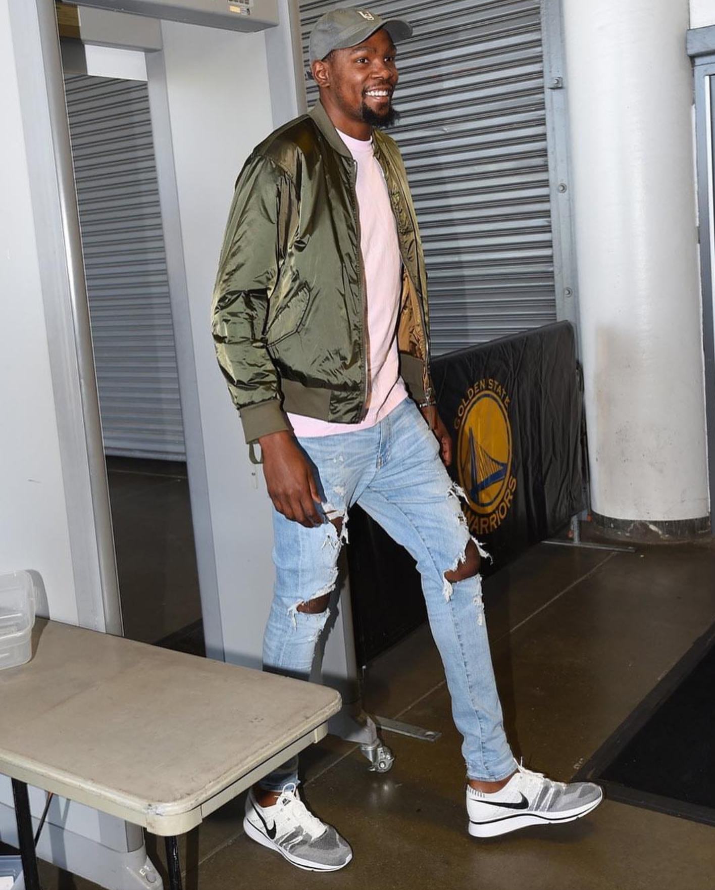 Kevin Durant's Cavs Vs Warriors NBA Finals Game 5 Helmut Lang Jacket, Amiri Jeans, and Nike Flyknit Trainer
