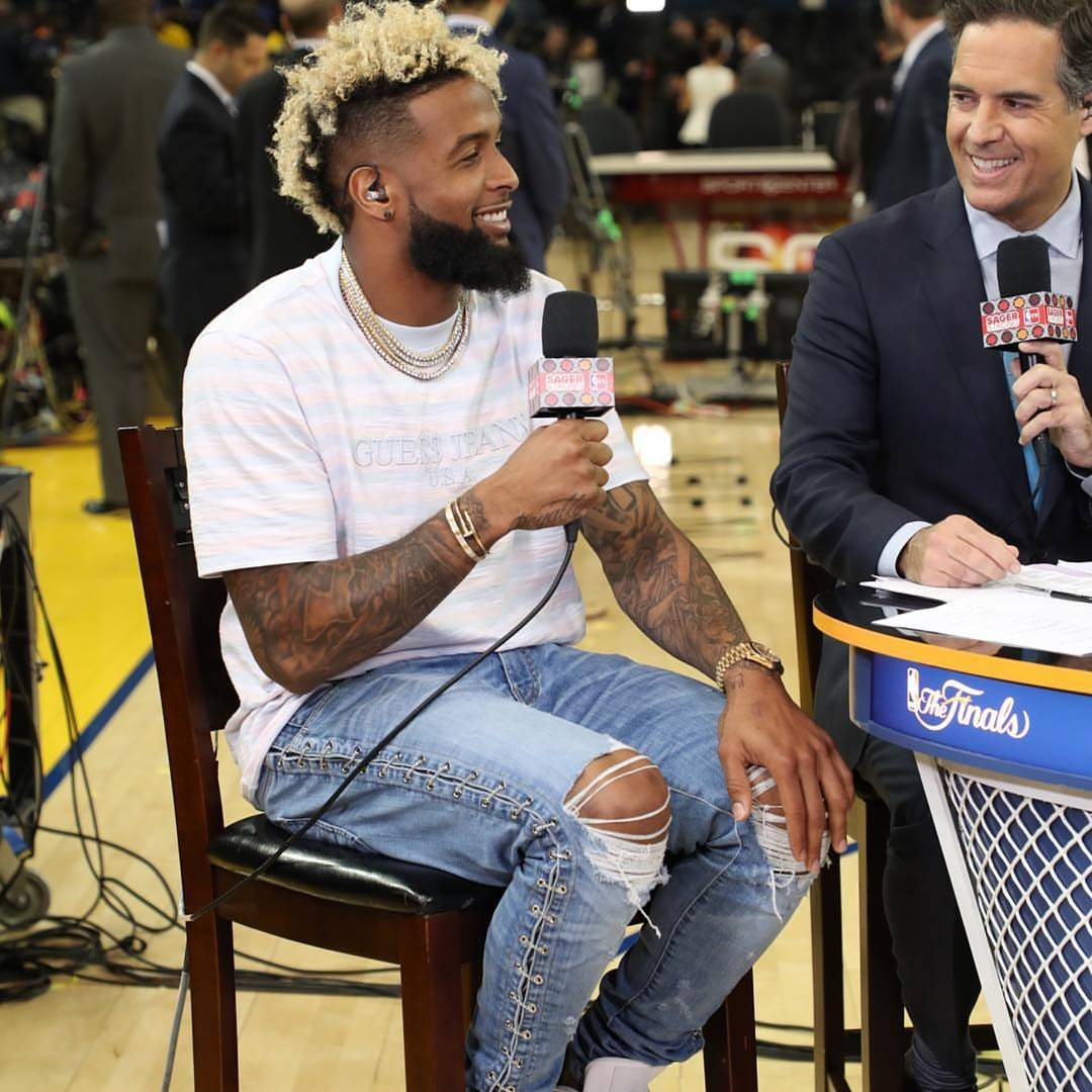 Odell Beckham JR NBA Finals Game 2 Guess x Asap Rocky Striped Shirt And Amiri Chain Jeans
