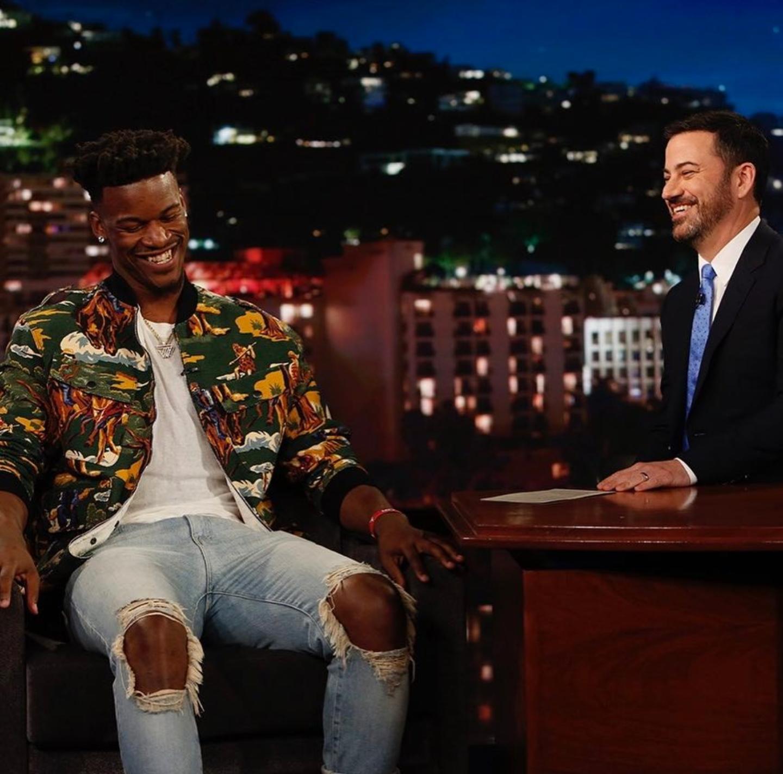 Jimmy Butler's Jimmy Kimmel Live Stella McCartney Horse Print Jacket & Daniel Patrick Skinny Jeans