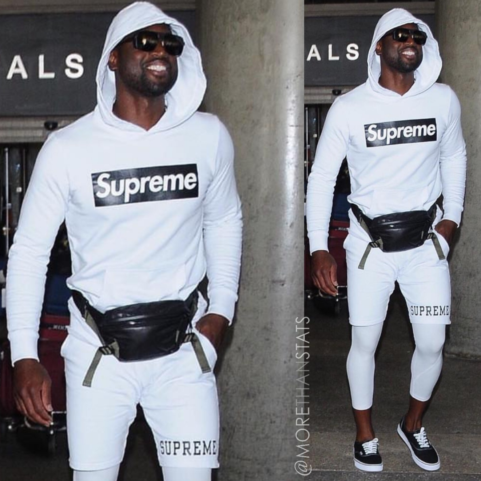 Dwyane Wade's LAX Airport Supreme Hoodie and Shorts