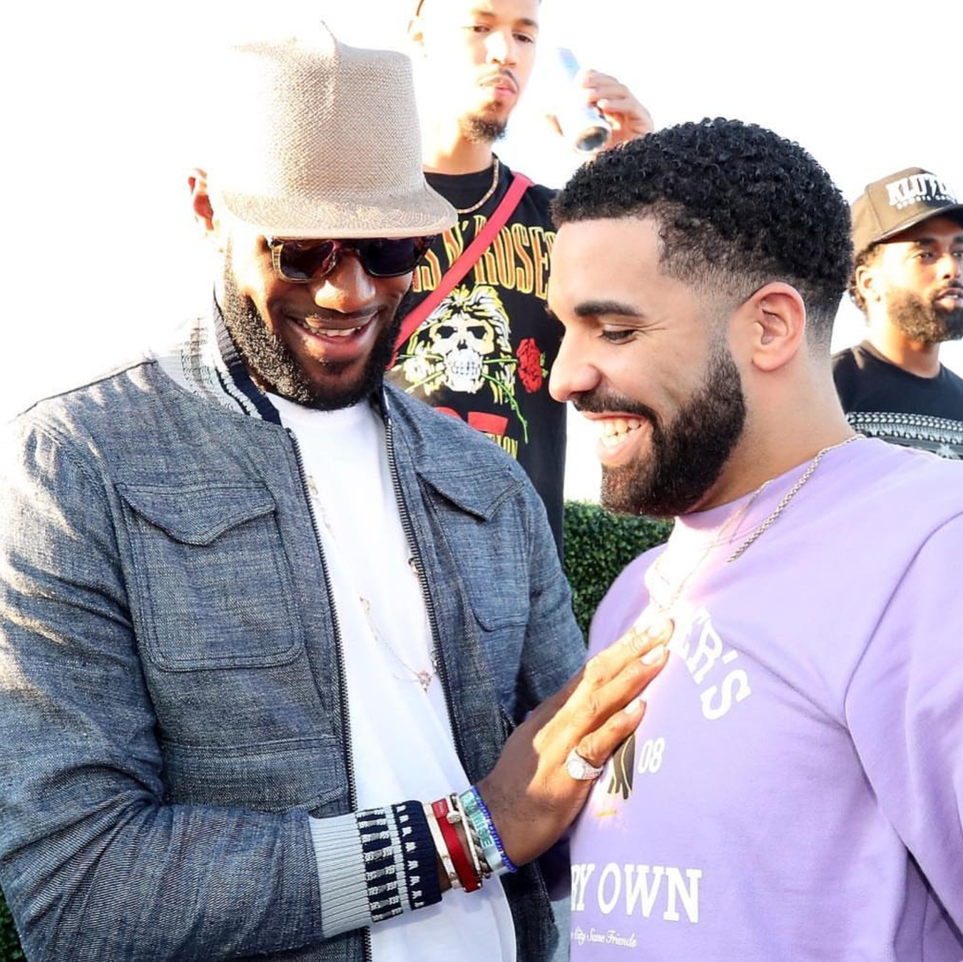 Lebron James w/Drake Caribana Weekend  Bottega Veneta Contrast-trim Chambray Jacket, Raw Cuff Cropped Cotton Jogging Pants, &  Gladys Tamez Millinery Hat