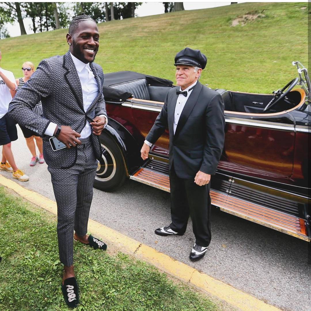 Antonio Brown's Training Camp 1931 Rolls Royce, Gucci Suit & Gucci Embroidered Slippers