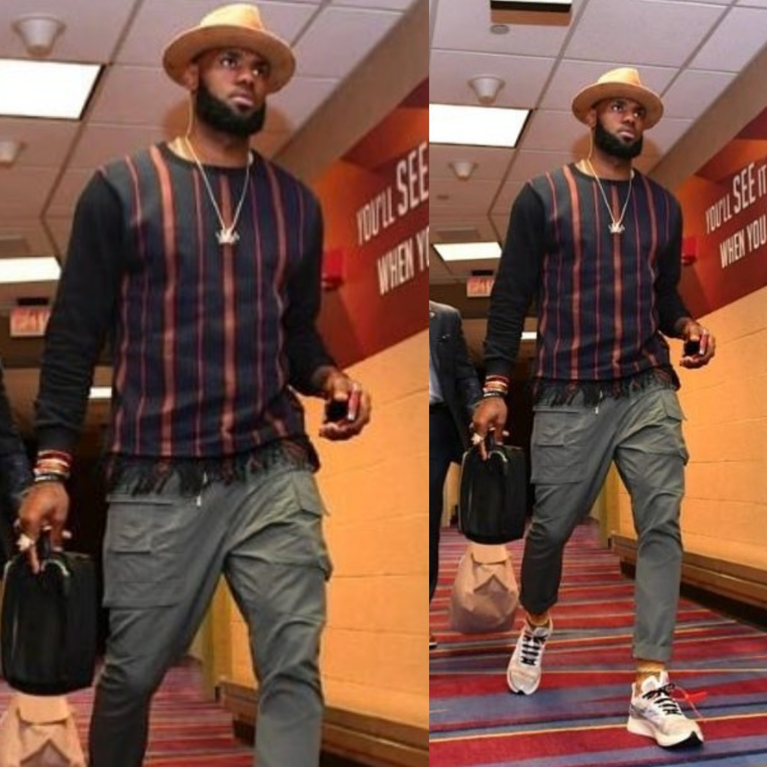 e570a7804b36 Lebron James arrived to hoop wearing a Dries Van Noten sweater and  Off-White x Nike Sneakers
