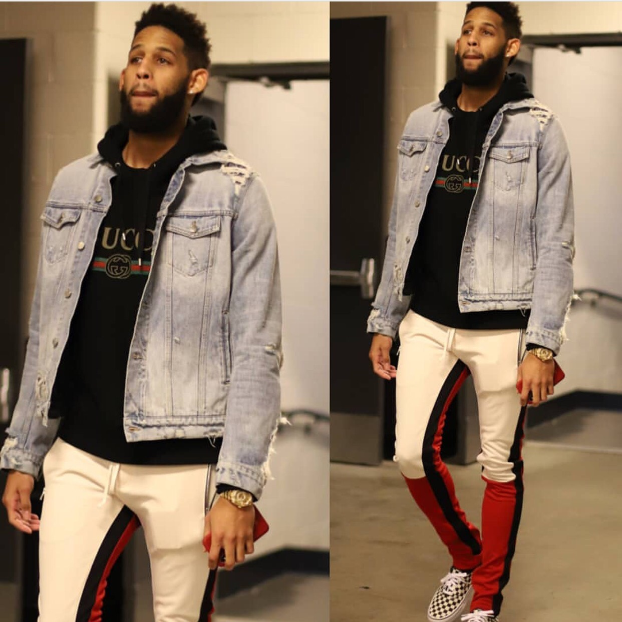 Allen Crabbe's Barclays Center Amiri Jacket, Gucci Hoodie, and Fear Of God Motocross Pants