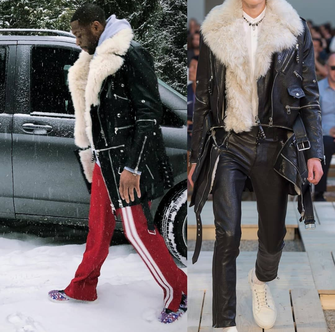 Dwyane Wade's Alexander McQueen Spring '18 Jacket and Valentino Track pant