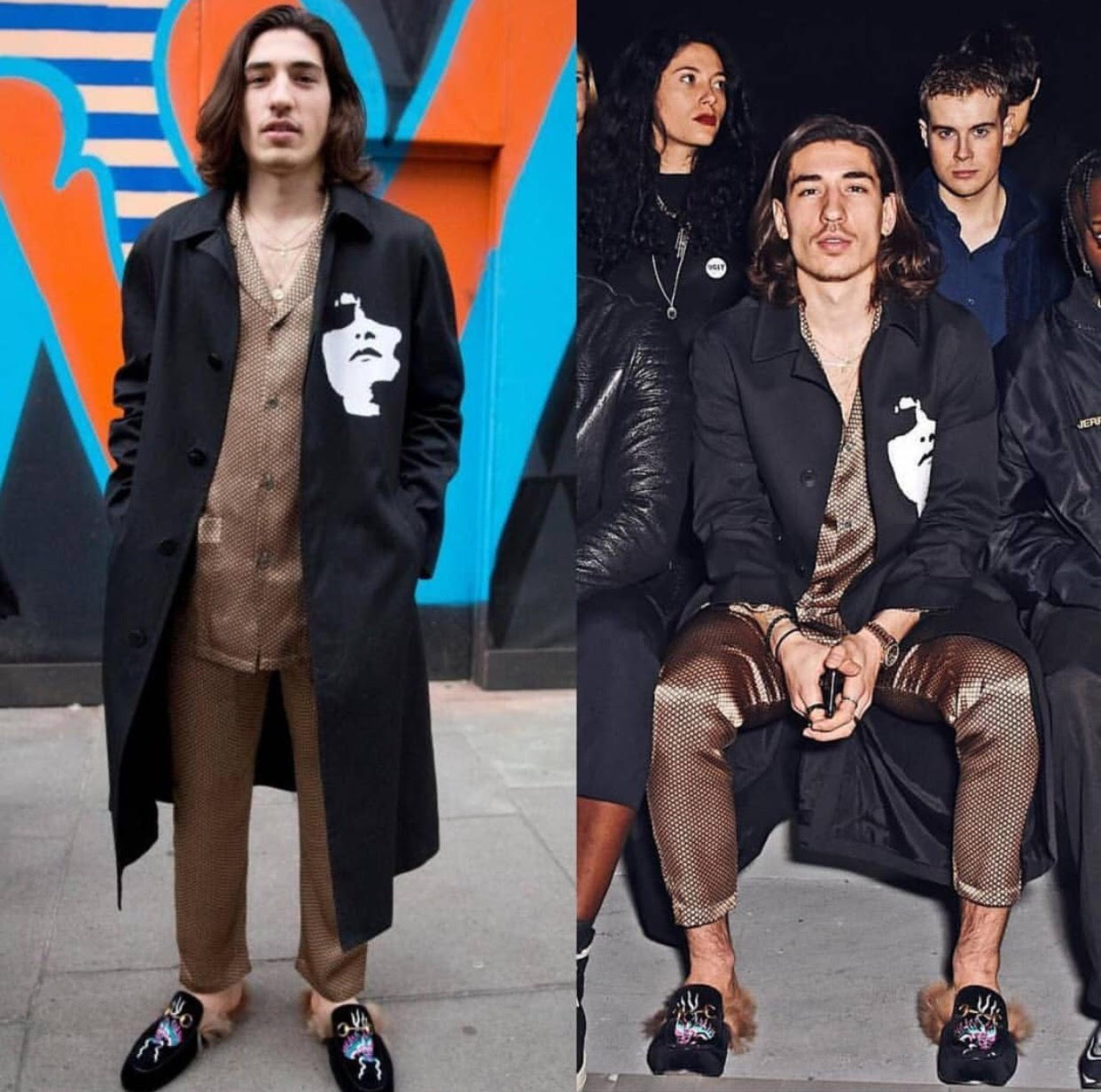 Hector Bellerin's London Fashion Week Men's  Pajamas and Gucci Princetown dragon-embroidered velvet slippers.