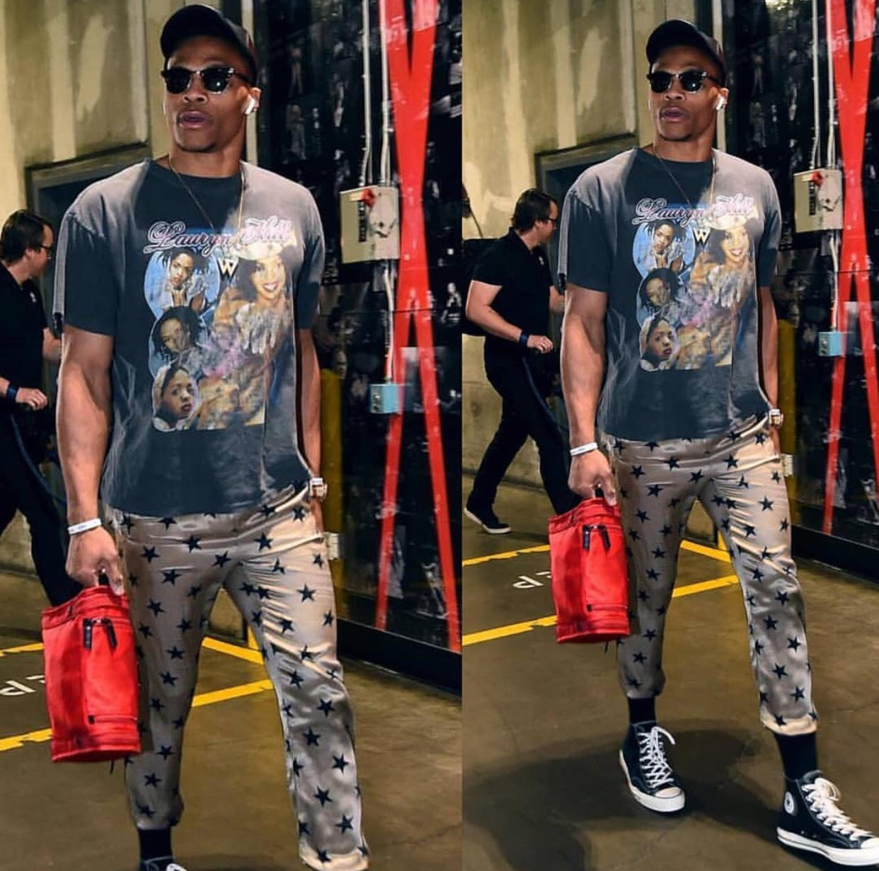 Russell Westbrook's vintage Lauryn Hill shirt and Converse sneakers