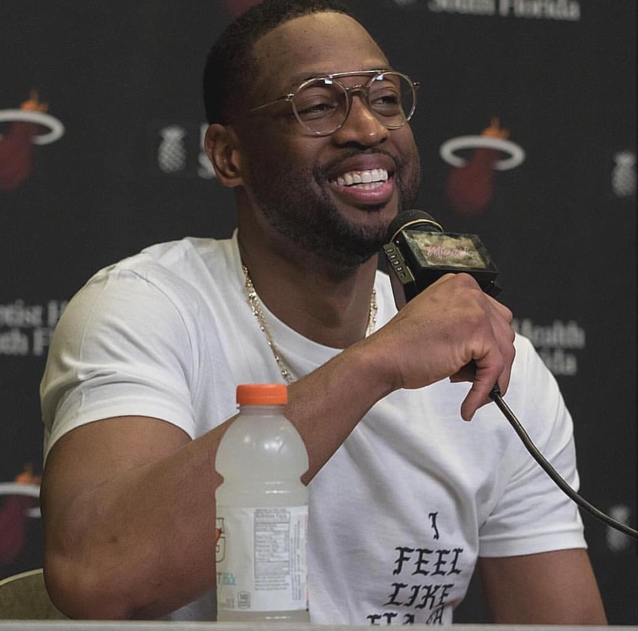 "Dwyane Wade's Miami Heat Return ""I Feel Like Flash"" Shirt & Thom Browne Frames"