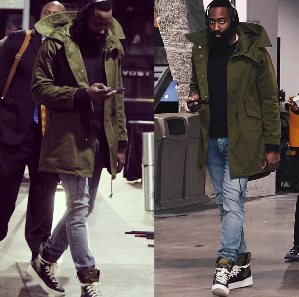 James Harden's Barclays Center Givenchy Wings Print Parka & Fear Of God Jungle Sneakers