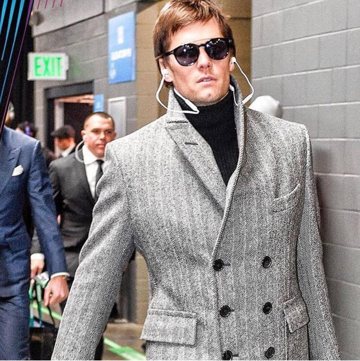 "d975c3740a Tom Brady s Super Bowl 52 Tom Ford Herringbone Coat And Tom Ford ""Newman""  Sunglasses"