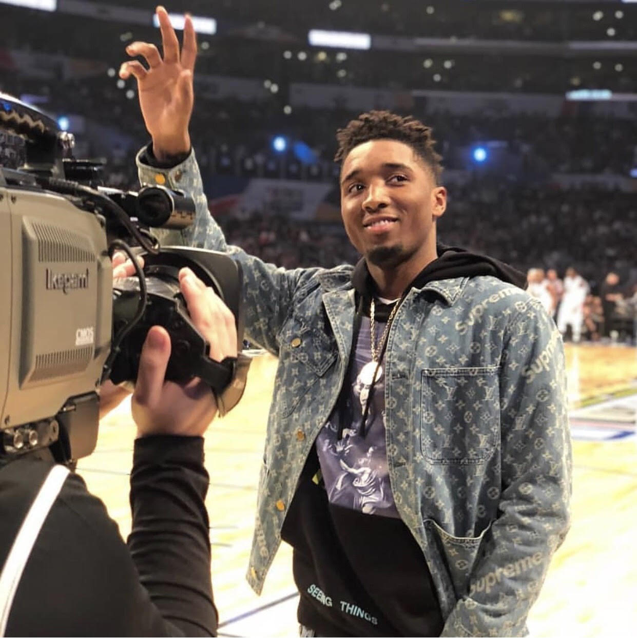 Donovan Mitchell's NBA All-Star Weekend Supreme x Louis Vuitton Jacket And Off-White Hoodie