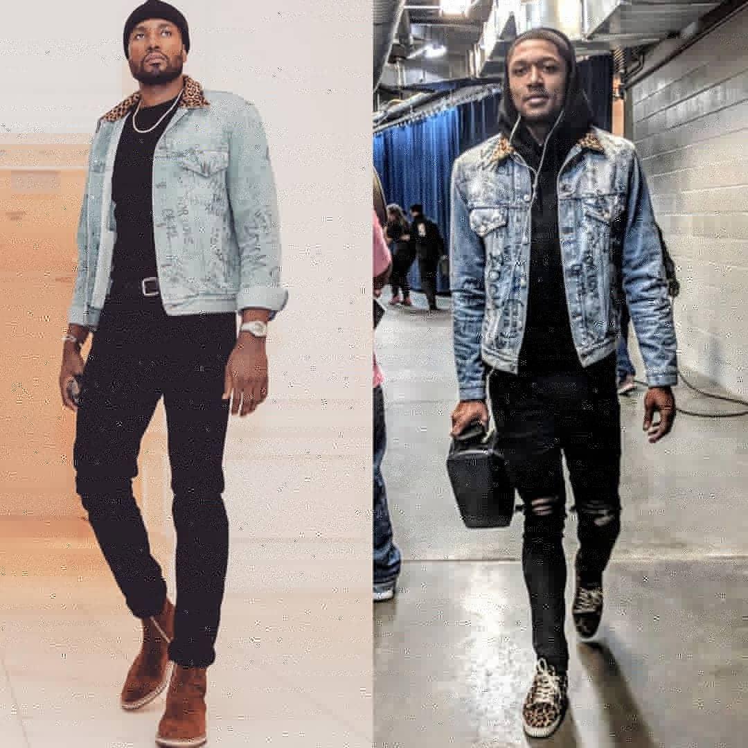 Serge Ibaka VS Bradley Beal Wearing Gucci Scribbled Writing Denim Jacket