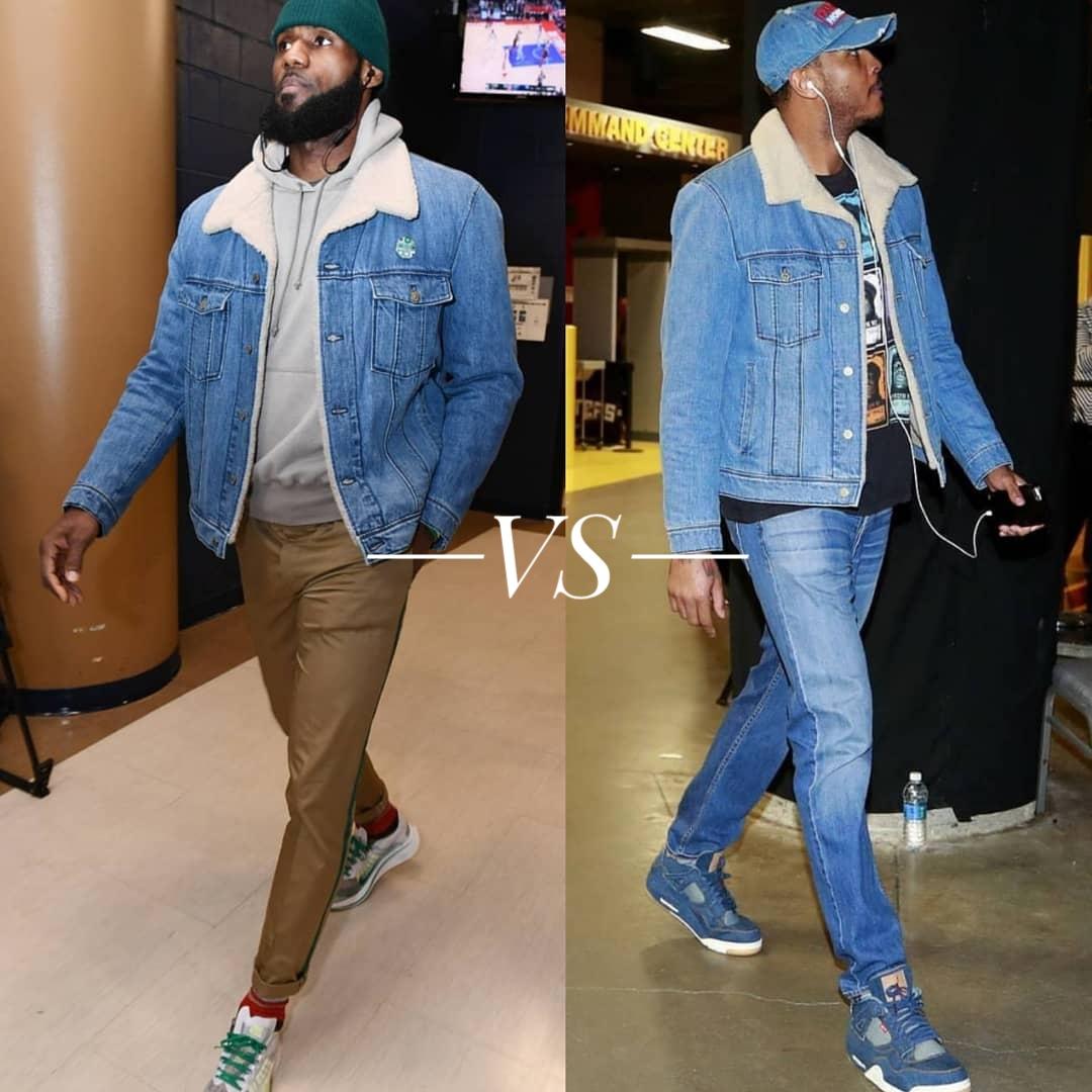 fe690d78 Lebron James VS Carmelo Anthony's Lanvin Shearling Lined Denim Jacket