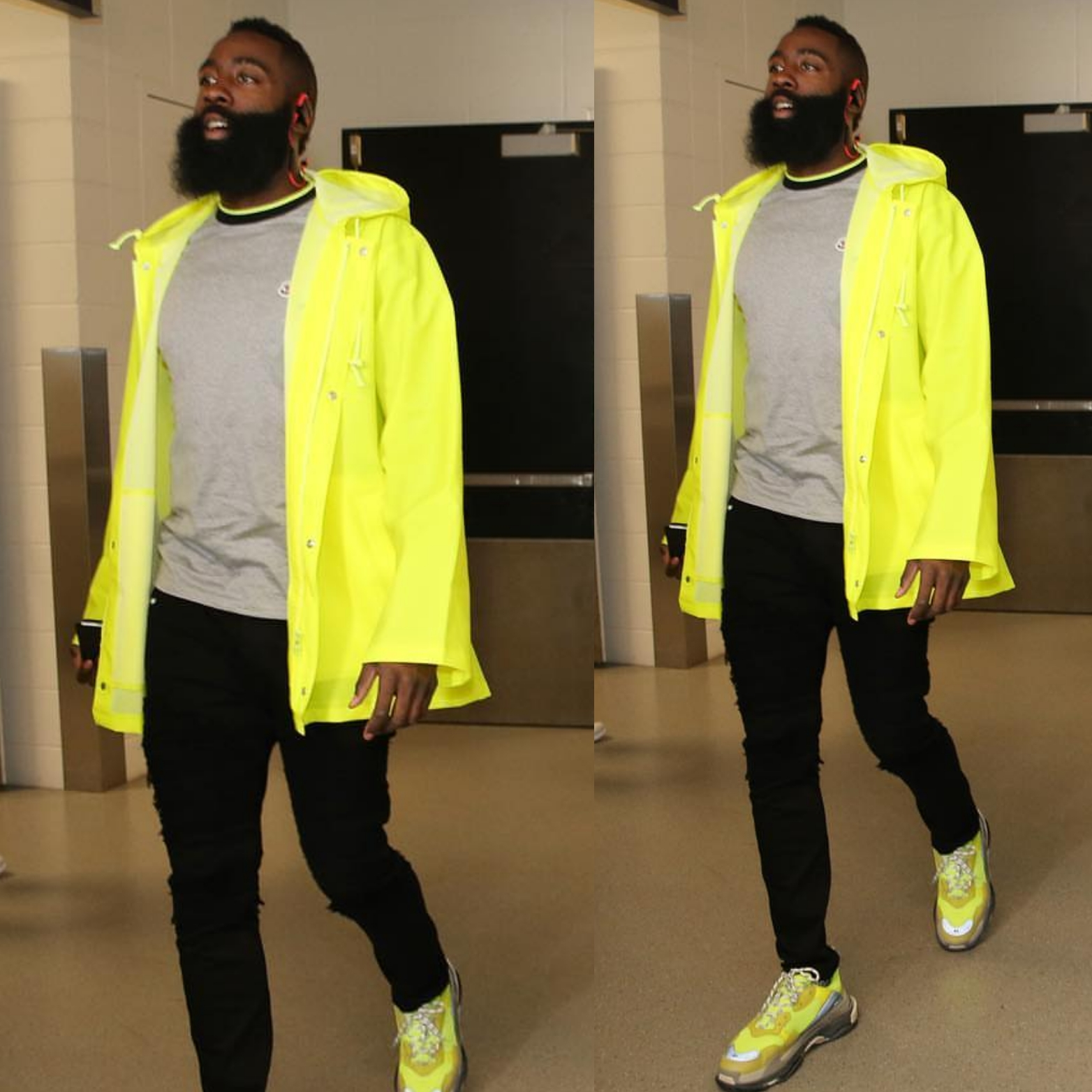 James Harden's 2018 NBA Playoffs Vetements Jacket and Balenciaga Triple S Sneakers
