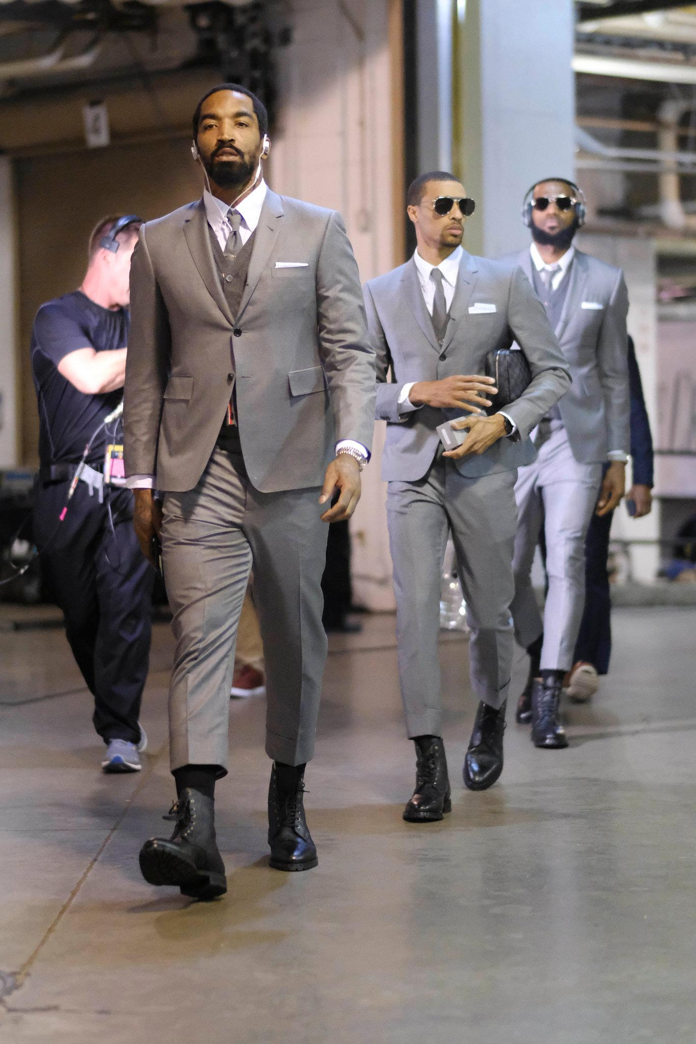 Lebron James & Cavs Teammates Wear Matching Thom Browne Suits For Game 3 Of The 2018 NBA ...