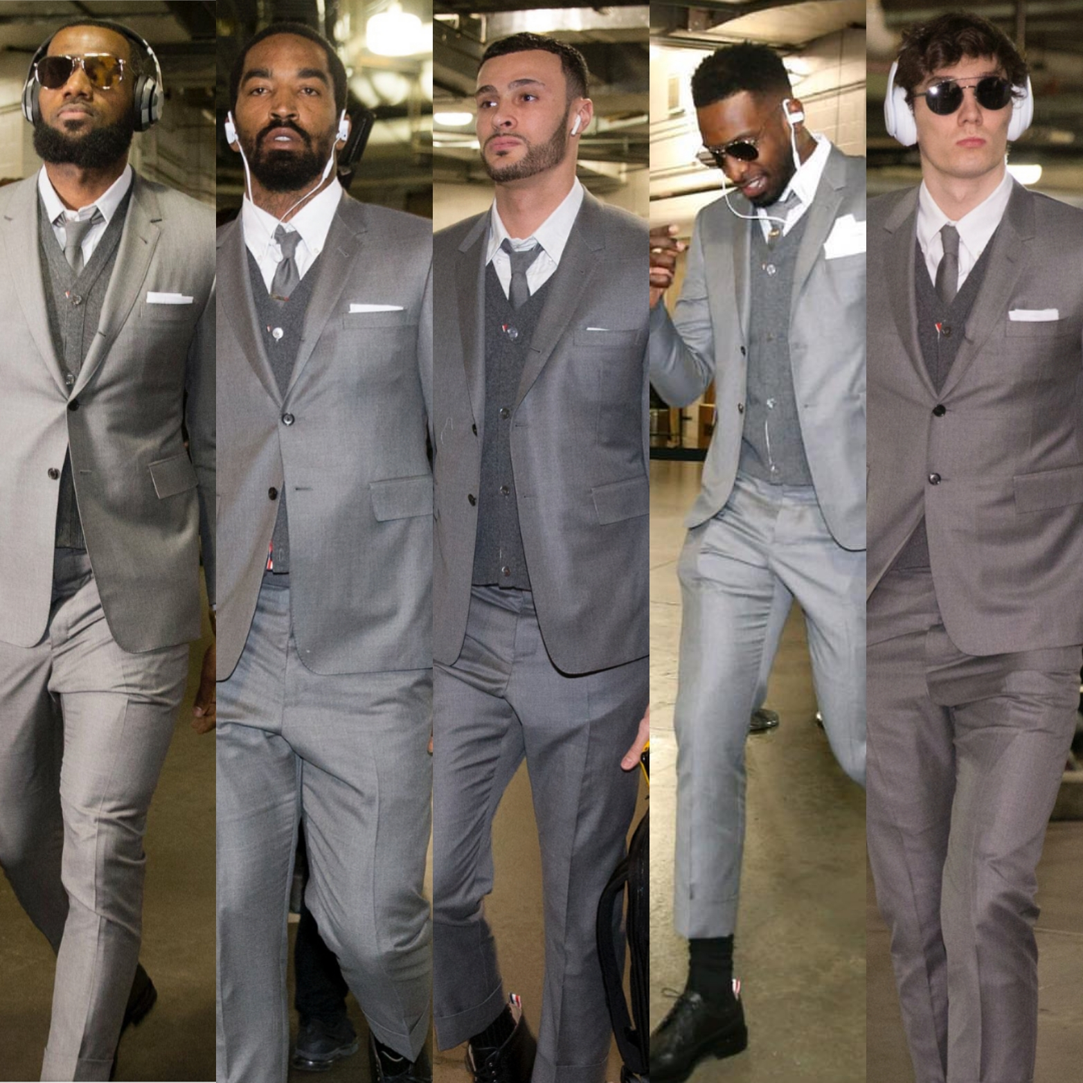 ed39e94806d Lebron James   Cavs Teammates Wear Matching Thom Browne Suits For Game 3 Of  The 2018 ...