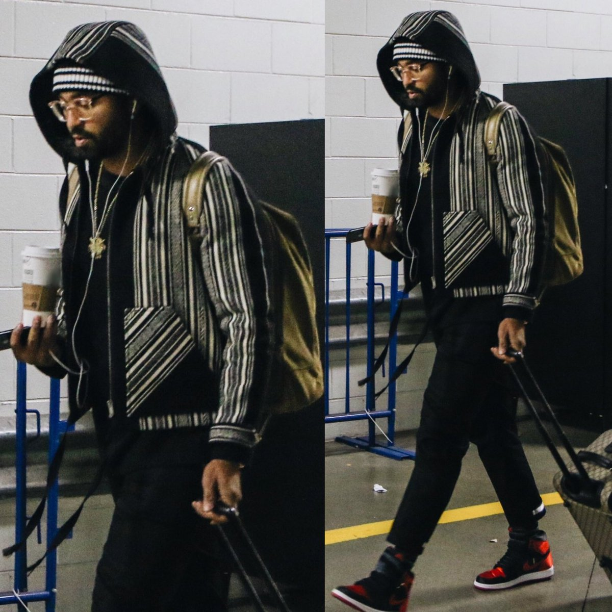 "Matt Kemp's NLCS Game 2 Saint Laurent Baja Folkloric Weave Hoodie And Air Jordan 1 ""Satin"" Sneakers"