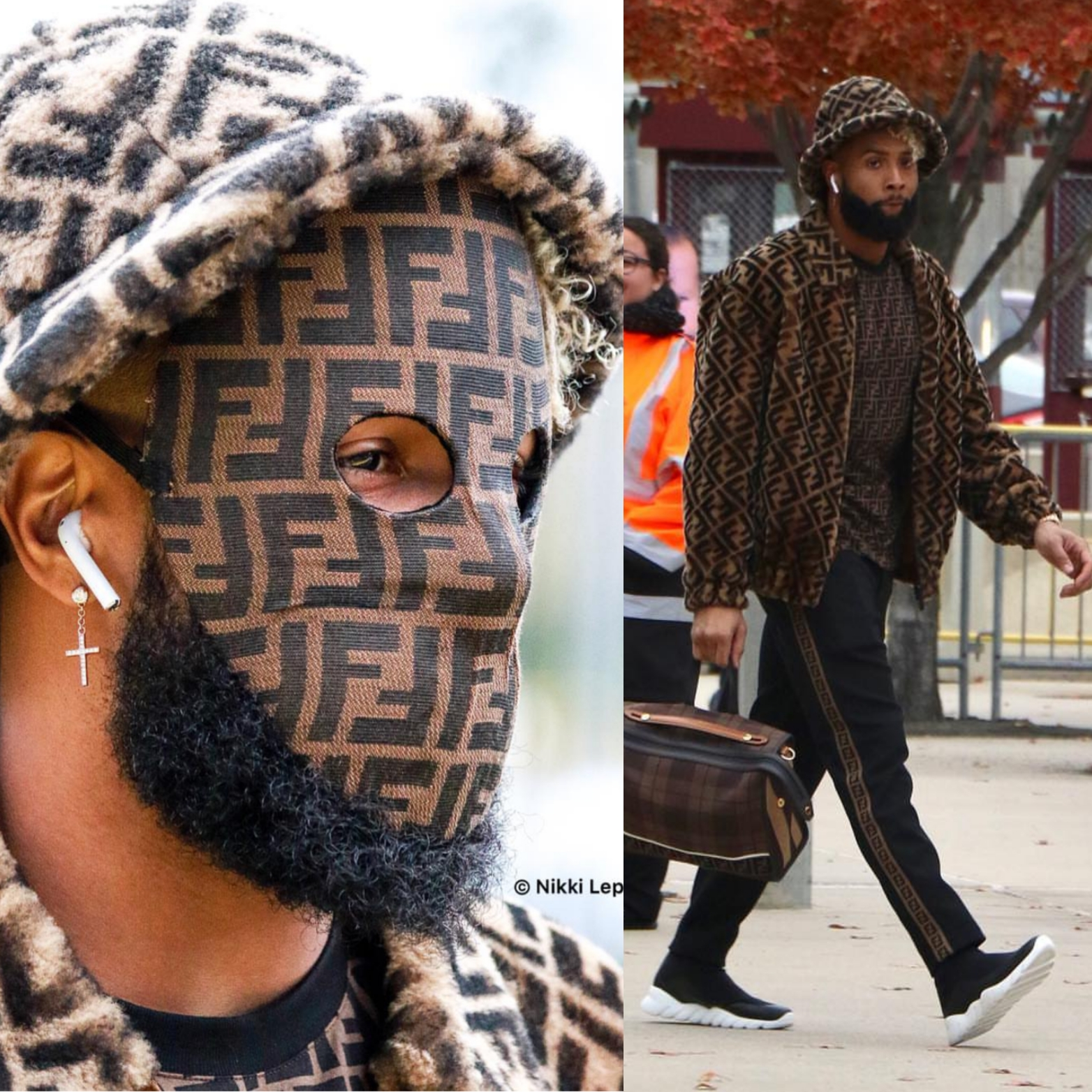 Odell Beckham Jr's Fendi Mask, Fendi Reversible Jacket, Fendi Side Bands Sweatpant & Fendi Tech Fabric Sneakers