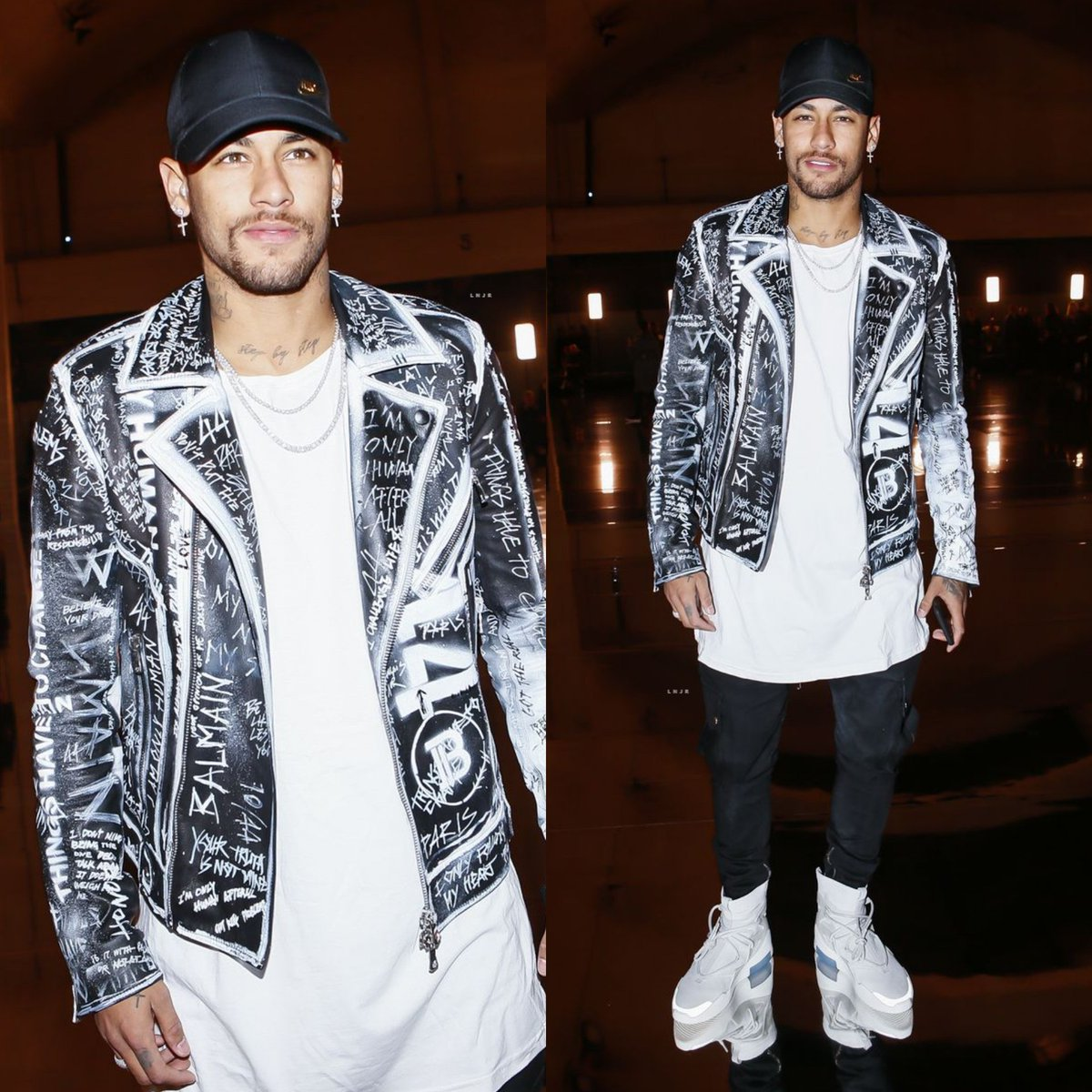 Neymar JR's Paris Fashion Week Balmain Fall 2019 Jacket And Nike Air Fear Of God 1 Sneakers