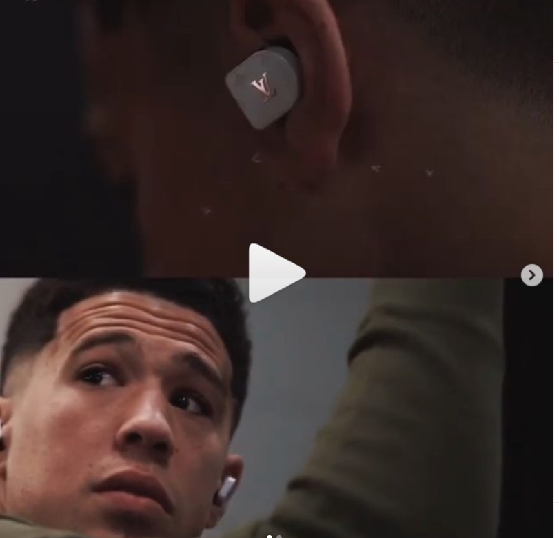 Devin Booker Sports $1,000 Louis Vuitton Earbuds.