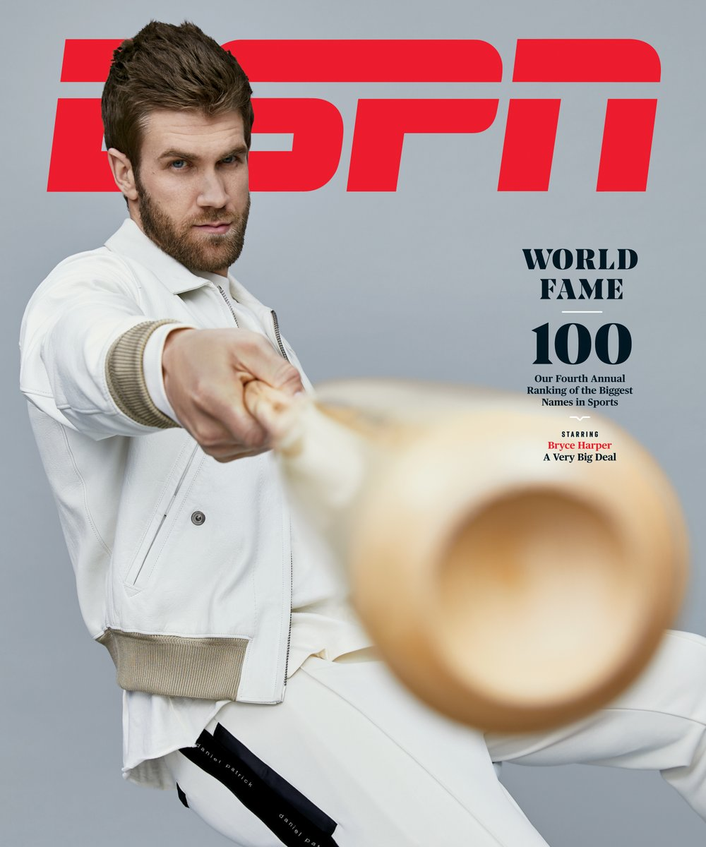 Bryce Harper For ESPN MAG IN Tom Ford Tumbled Leather Jacket & Daniel Patrick Track Pant