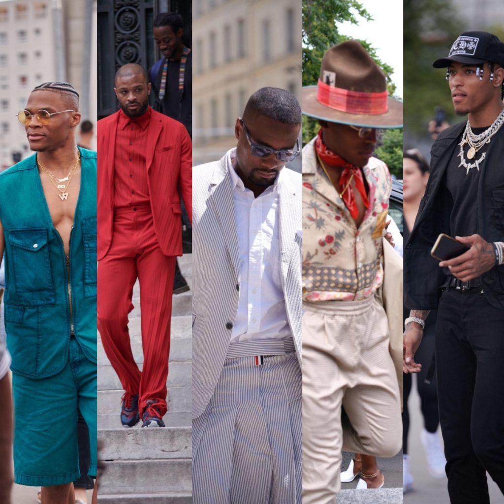 Athletes At Paris Fashion Week Spring/Summer 2020: Russell Westbrook,  P.J. Tucker, Serge Ibaka, Cam Newton, Kelly Oubre Jr. And Rudy Gay