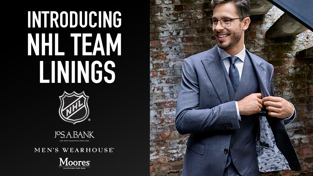 Hockey Fans Can Now Customize Their Suits W/ Favorite NHL Team Through Partnership With Men's Wearhouse and Jos. A. Bank